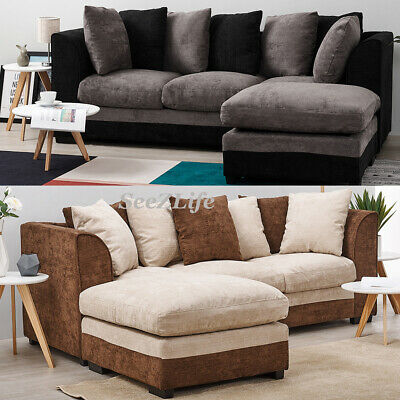 3 Seater Jumbo Cord Fabric Corner Sofa Left or Right with Pillow Settee Couch UK