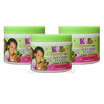 3Pc Africa's Best Kids Organics Soft Hold Styling Pomade & Hair Dress Smooth