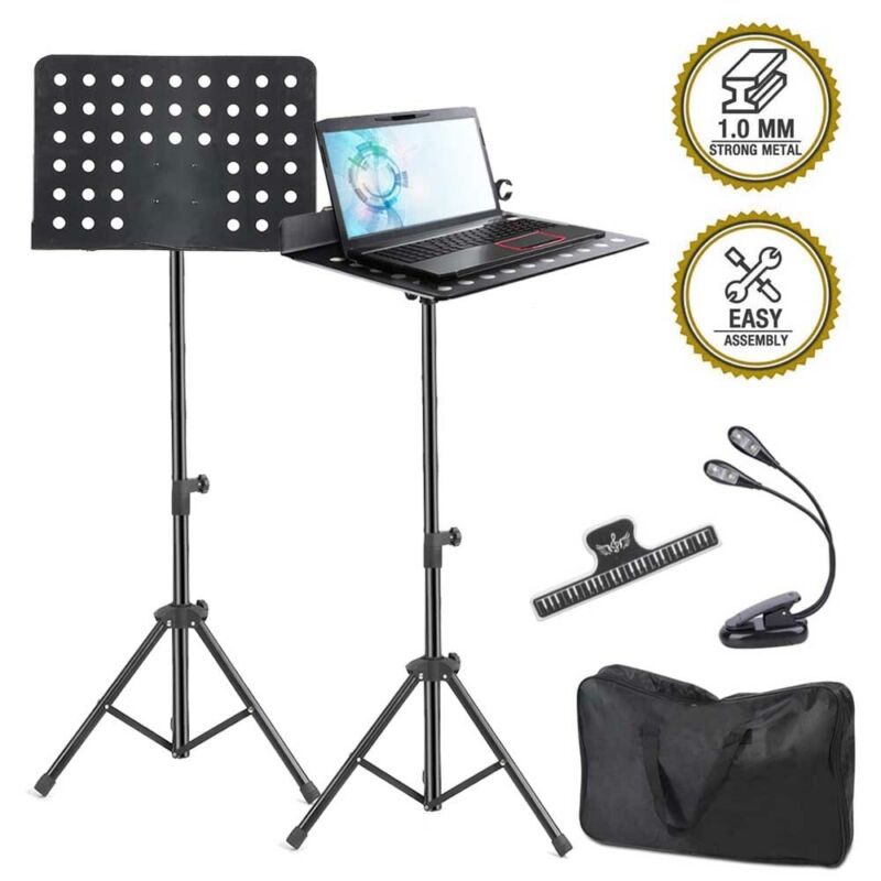 Music Stand, Professional Sheet Music Stand with Clip Holder+Carry Bag+Led Light