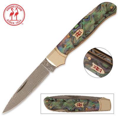 Kissing Crane Limited Edition Abalone Damascus Lockback Pocket Knife KC5200 New