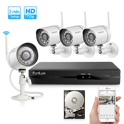Funlux® 1280*720P IP Wireless Outdoor Home Security Camera System 4CH NVR 500GB