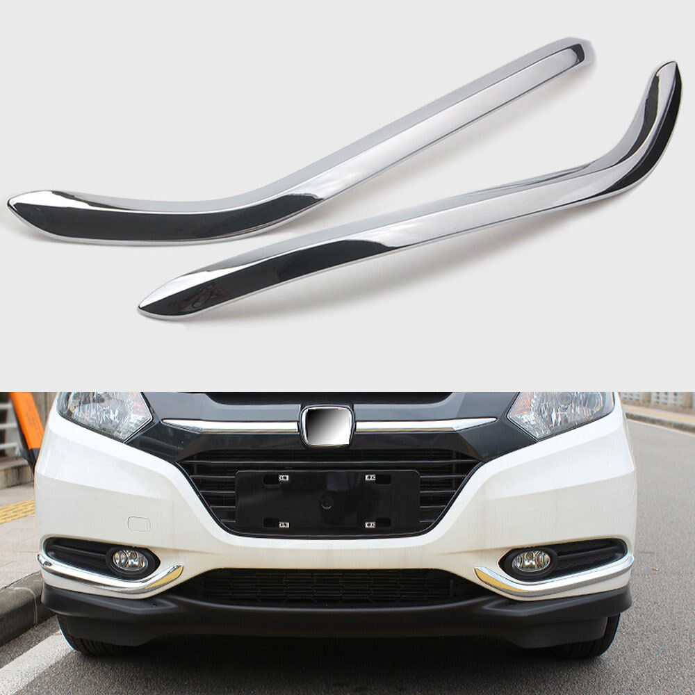 Chrome Front Fog Light Lamp Cover Frame Trim For Honda HR-V HRV Vezel 2016-2018