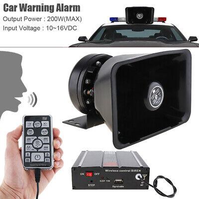 200W Police Fire Siren Horn Speaker Car Emergency Warning Alarm 18 Sound Remote