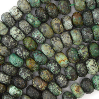 Faceted African Turquoise Rondelle Beads 15