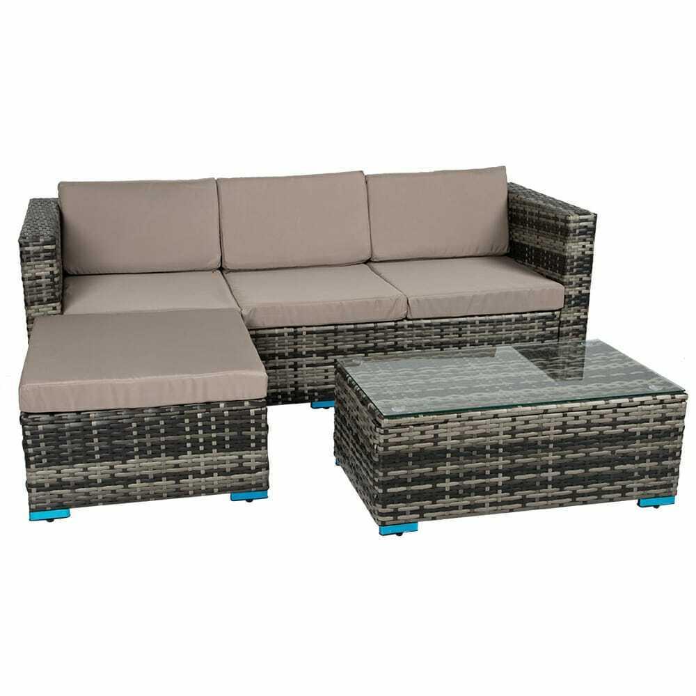 Garden Furniture - Rattan Furniture With Cushion Outdoor Patio Stylish Corner Garden Set