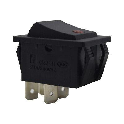Rocker Switch Red Light Illuminated Dpst On-off 20a250vac 4 Pin Ul