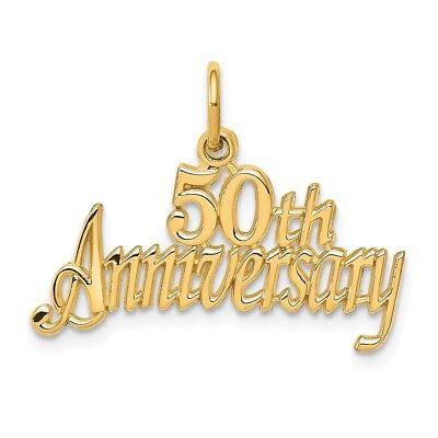 14k Yellow Gold 50th Anniversary Charm Pendant 0.67 Inch