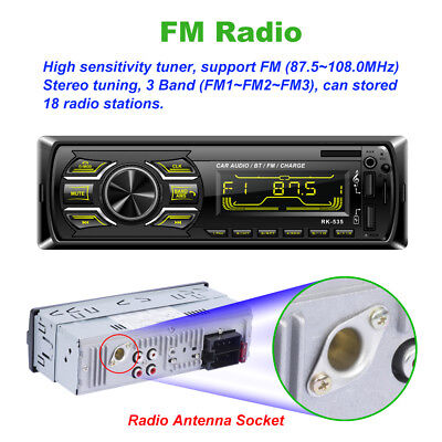 Bluetooth Car Stereo Audio Radio MP3 Player Single 1 Din  FM/SD/TF USB AUX Infiniti Car Stereo