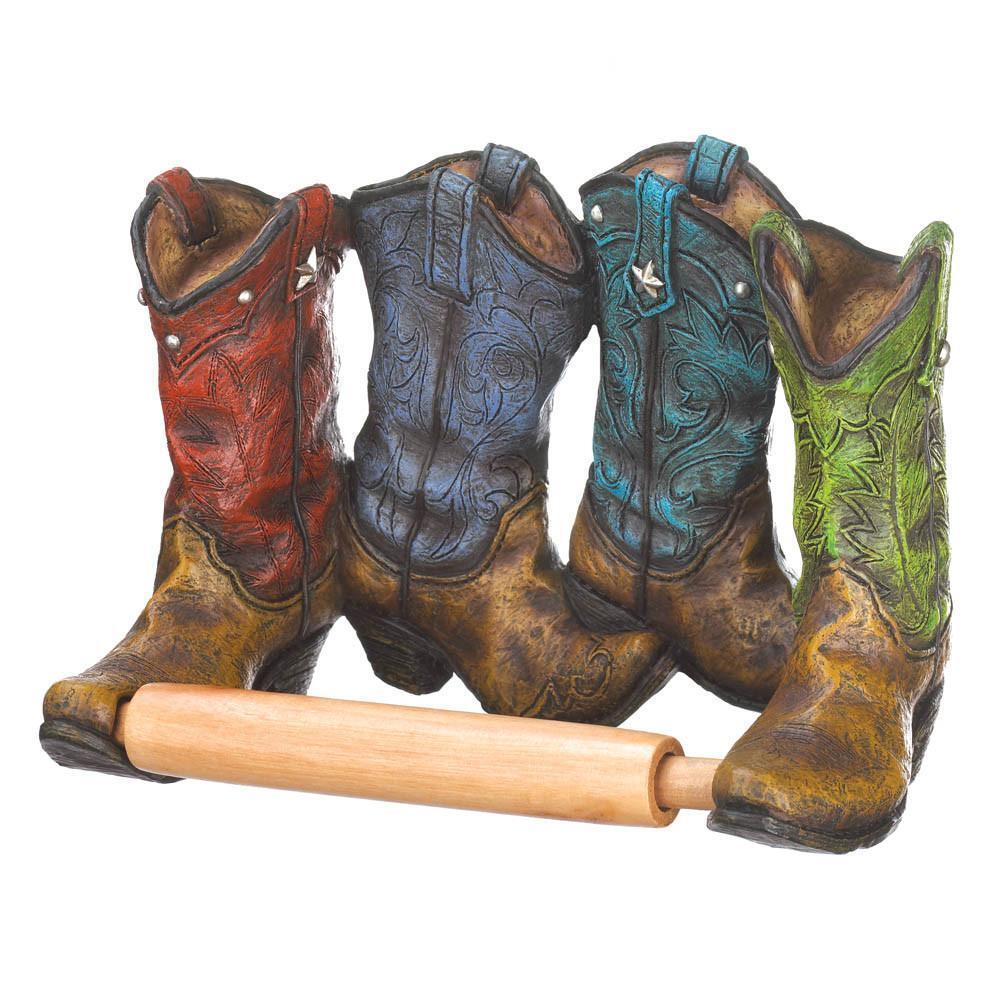 Wild Western Boots Cowboy Toilet Paper Tissue Holder