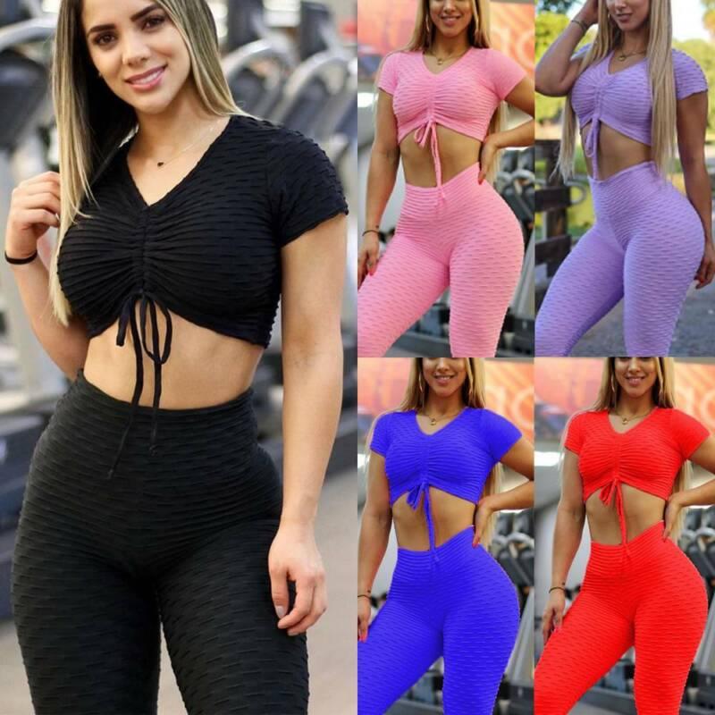 Women Textured Yoga Top Pants Leggings Anti-Cellulite Gym Sport Workout Suit Set