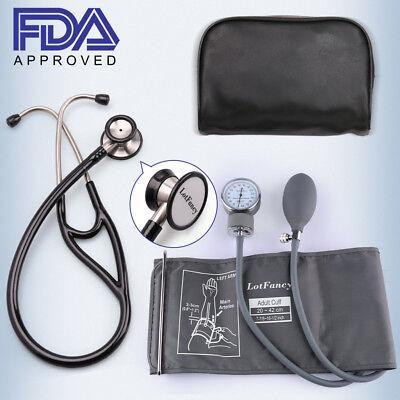 Aneroid Sphygmomanometer Stethoscope Kit Manual Blood Pressure Adult Bp Cuff Us
