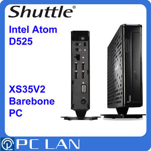 Shuttle XS35V2 Slim Barebone Intel Atom D525 Intel GMA DDR3 GbLAN Wireless D-SU