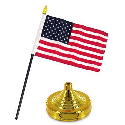 "United States USA 4""x6"" Flag Desk Set Table Stick Gold Base"