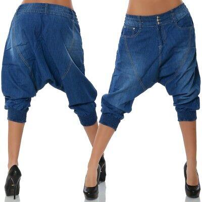 Damen Capri Jeans Hose Boyfriend Hüftjeans 3/4 Harem Chino Skater Pluder Baggy (Capri-jeans Mädchen)