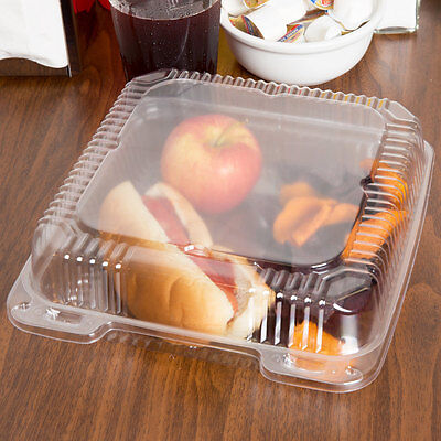 200-pack 9 X 9 X 3 Clear Hinged Lid Plastic Container