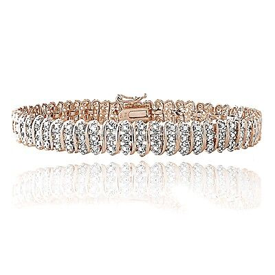 18K Rose Gold Plated Brass 1ct TDW Diamond S Tennis Bracelet