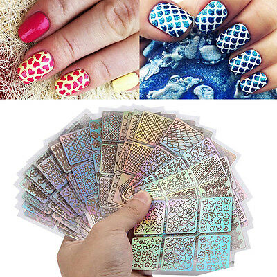 Nail Hollow Irregular Grid Stencil Reusable Manicure Stickers Stamping Template