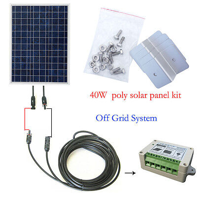 Eco 40W Solar Panel System Kit With Solar Controller   Mc4   35  Cable   Bracket