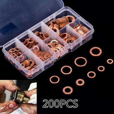 200pcs Engine Oil Drain Plug Copper Crush Washer Seal O-Ring Gasket 9 Sizes Box