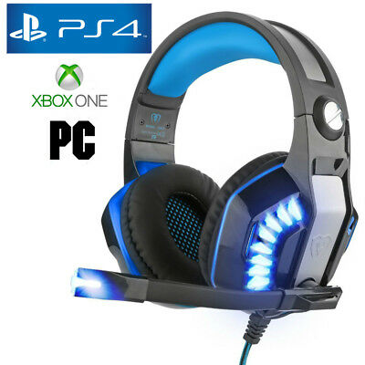 Pro Gamer PS4 Headset for PlayStation 4 Xbox One & PC Computer Blue Headphones 4