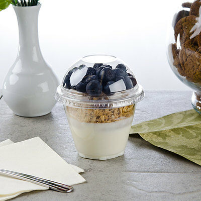 Pack Of 25 Clear 4-piece Plastic 9 Oz Parfait Cup W Insert Flat Lid Dome Lid