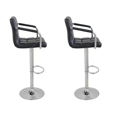 2pcs PU Leather Adjustable Height Swivel Bar Stool /Arms & Chrome Base Black US Chrome Dining Room Bar Stool