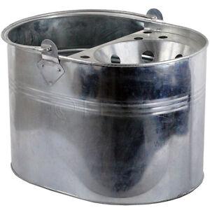 Mop Bucket Galvanised Metal Heavy Duty Cleaning Home Basket Strong Handle Room