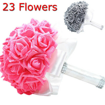 - Crystal Roses Pearl Bridesmaid Wedding Bouquet Bridal Artificial Silk Flowers