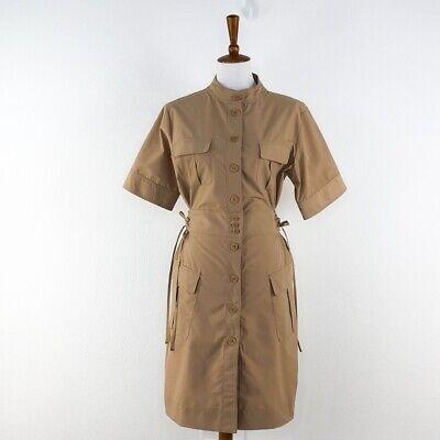 Women's Tomas Maier Tan Short Sleeve Side Tie Shirt Dress sz 6