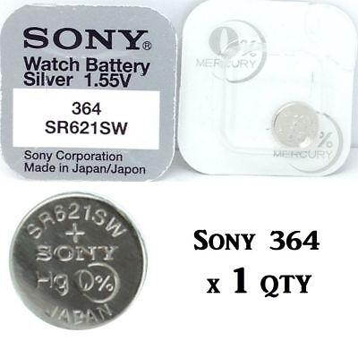 1 x Sony Silver Oxide Button Battery - 1.55v - 0% Mercury - 364SB - SR621SW