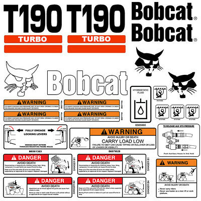 Bobcat T190 Turbo Skid Steer Set Vinyl Decal Sticker 25 Pc Set Free Applicator