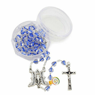 Blue Rosary Beads with Heart Shaped Rosary Beads