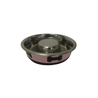 Slow Feeder Spill Proof Pet Bowl Rubber Base Bone Design Pink and Black Dog Pup