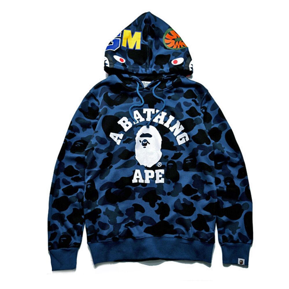 fdec9e273c5d Men s Bape A Bathing Ape Full Zip Shark Head Camo Hoodie Coat Sweatshirt  Jacket