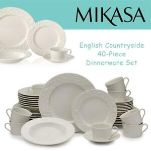 NEW Mikasa English Countryside 40-Piece Dinnerware Set, Service for 8 Condtion: New, 40-Piece Set, 1 cup missing