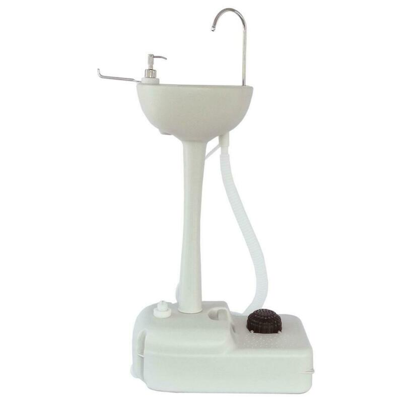 Outdoor/Indoor Wash Sink Basin Faucet Portable Removable Ligetweight HDPE White