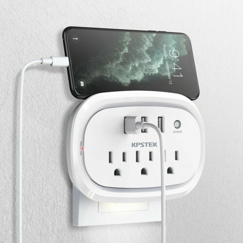 KPSTEK Wall Mount Surge Protector w/3 USB Charging Ports,3 Outlets, Phone holder
