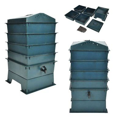 Eco-friendly 4-Tray Worm Factory Composter Waste Bin System Gardening Green❤