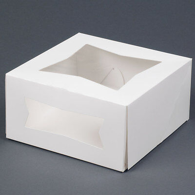 10 Small Bakery Box With Window 6x6x3 White Cupcake Cookie Favor Pastry Candy
