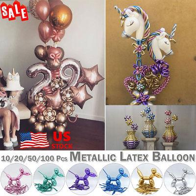 10/20/50/100 Pcs Twisting Metallic Latex Balloon Long Magic Balloon DIY Balloons (Long Balloons)