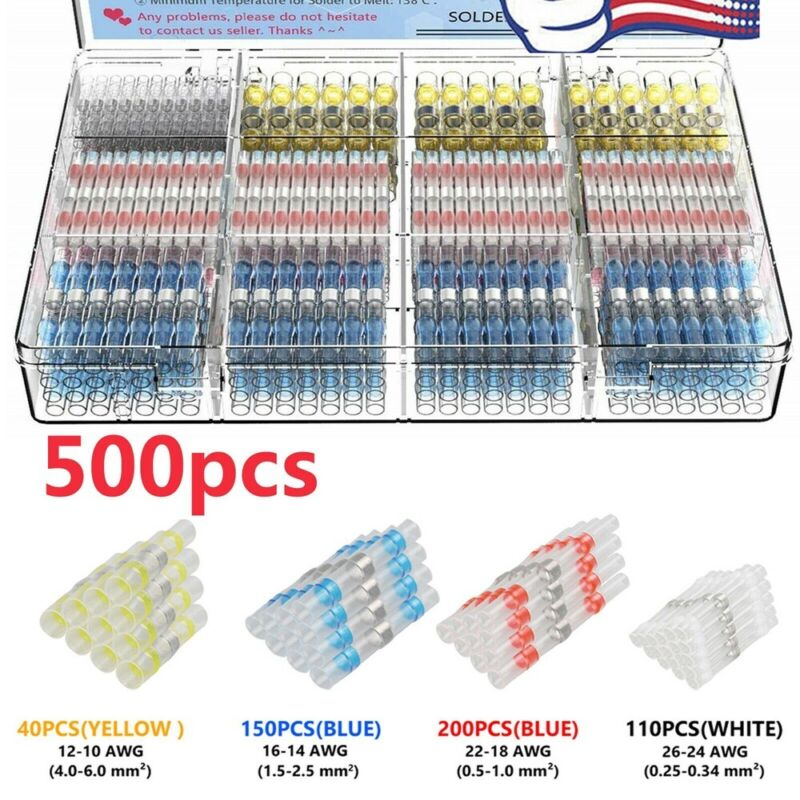 500PCS Waterproof Heat Shrink Solder Seal Sleeve Butt Terminals Wire Connector