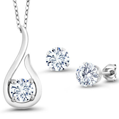 "1.65 Ct White Created Moissanite 925 Silver Pendant Earrings Set with 18"" Chain"