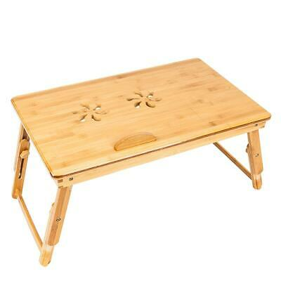 Bamboo Laptop Desk Adjustable Breakfast Serving Bed Tray with Tilting Top Drawer 1