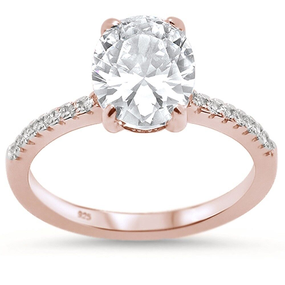 Rose Gold Plated Oval Cubic Zirconia Engagement .925 Sterlin