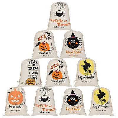 Halloween Party Bags Au (10x Lot Halloween Drawstring Trick or Treat Bag Canvas Gift Bag Party)