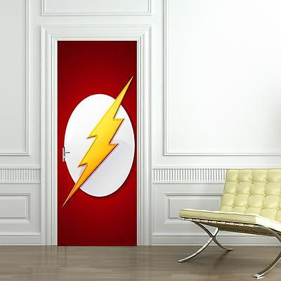 The Flash DOOR WRAP Decal Sticker Wall Mural Personalized ANY NAME Marvel - Personalized Stickers Cheap