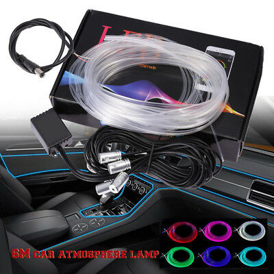 6M RGB LED Car Interior Neon Strip Light Sound Active Bluetooth Phone Control US