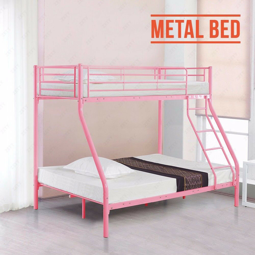 Modern 3ft Single 4ft6 Double Pink Metal Bunk Bed Frame Triple
