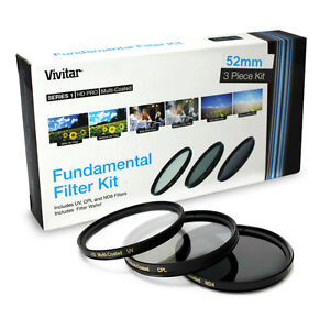 52MM Multi Coated Vivitar UV CPL ND8 Lens Filter Kit for Nikon D5200 D5100 D3200