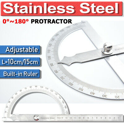 180 Protractor Head Rotary Angle Finder Stainless Steel Craft Arm Ruler Tool